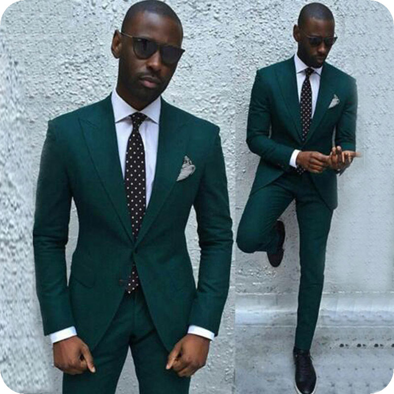 2019 Army Hunter Green Men Suits For Wedding Suits Bridegroom Groom Prom Blazer Slim Fit Casual Custom Tuxedo Terno Traje Hombre