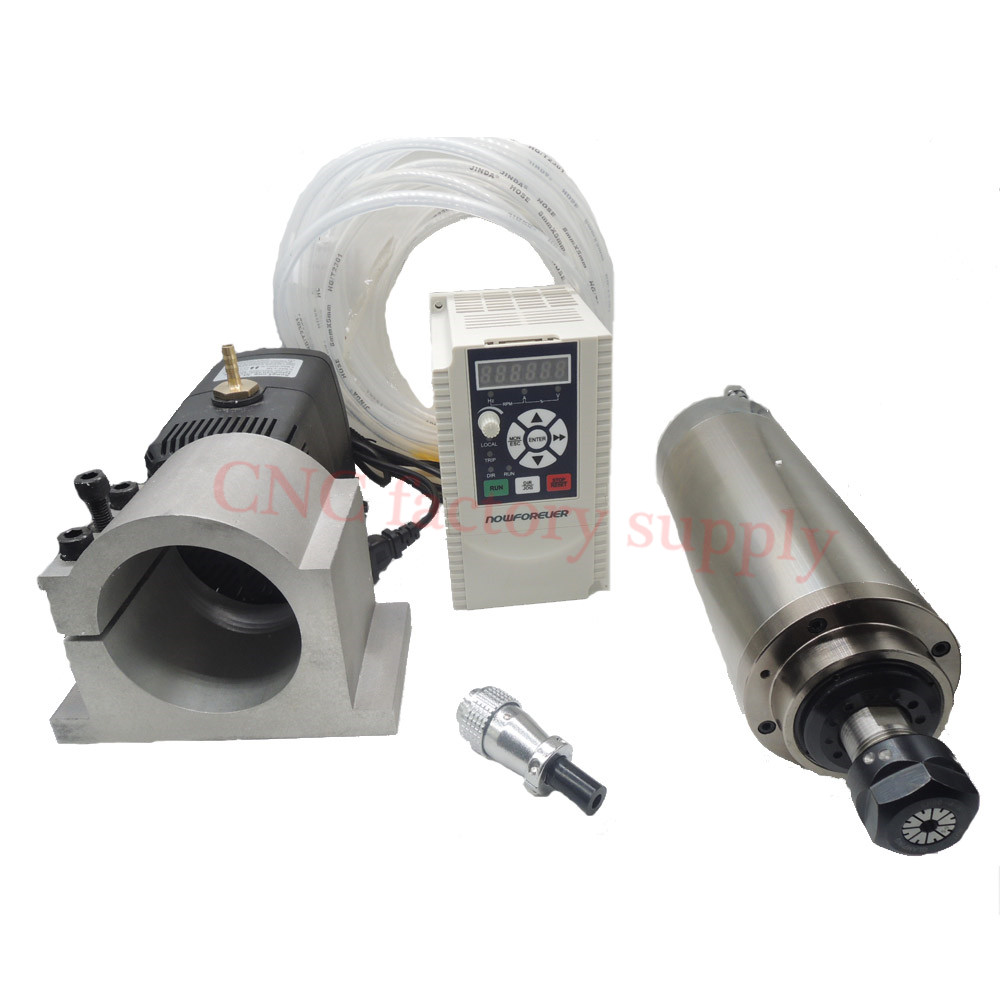 HOT sale Spindle Motor 1.5kw short length Water Cooled Spindle with clamp with cooling Water pump with  ER11 For CNC Milling water cooling spindle sets 1pcs 0 8kw er11 220v spindle motor and matching 800w inverter inverter and 65mmmount bracket clamp
