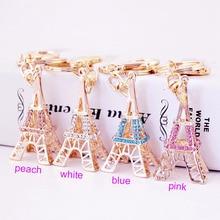 RE Eiffel tower keychain for keys souvenirs Paris tour eiffel rhinestone key chain keyring decoration holder G31