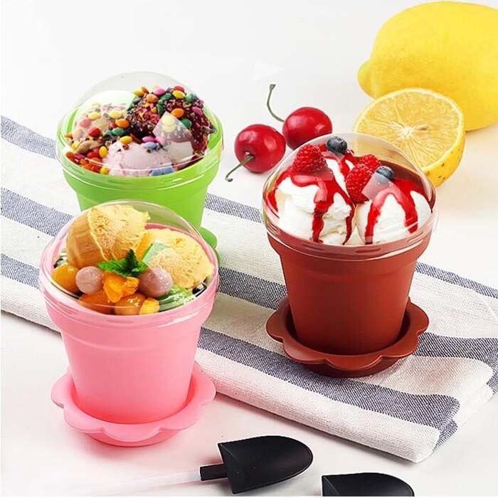 6 Colors Upick--10pcs/lot Tiramisu Cup Flower Pot Cake cups and shovel Ice Cream Decor For Wedding Birthday Party Craft Supplies Кубок