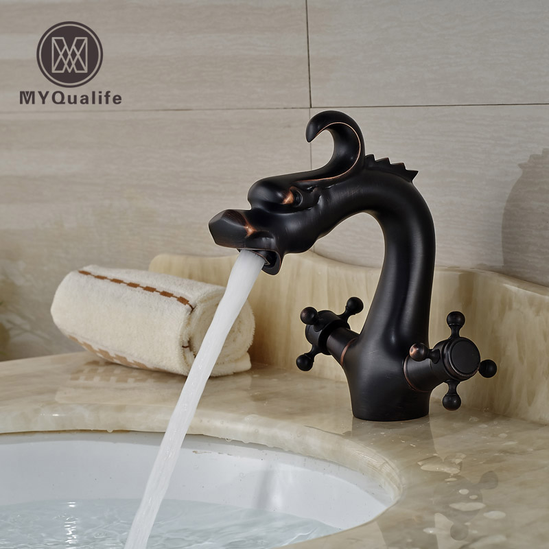 Oil Rubbed Bronze Dual Cross Handles Dragon Bathroom Sink Basin Faucet Deck Mount Oil Rubbed Bronze Finish oil rubbed bronze bathroom tooth brush holder dual ceramic cups crystal holder