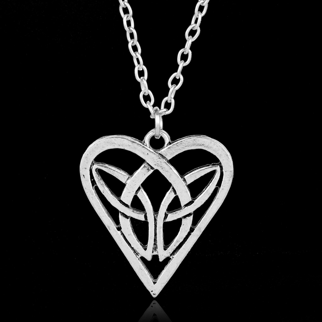 Mqchun antique silver color irish celtic knot triangle vintage love mqchun antique silver color irish celtic knot triangle vintage love heart necklace hot fashion irish vikings aloadofball