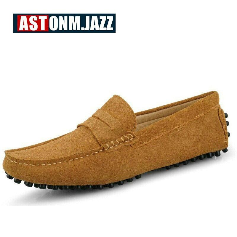 Dos homens Novos Casual Slip on Sneakers Homens Camurça De Couro Moccassins Mocassins Respirável Sapatos de Barco Sapatos Mocassins de Condução dos homens - 2