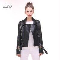 Модные Базовые куртки для женщин осень, для женщин пальто на молнии Мягкие заклепки Черный цветочной вышивкой Для женщин мотоцикл Пояса из