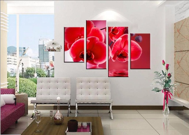 4piece Hot Modern Wall Painting Art Picture Paint On Canvas Prints Blood Red Charming Orchid Inverted Reflection In Water