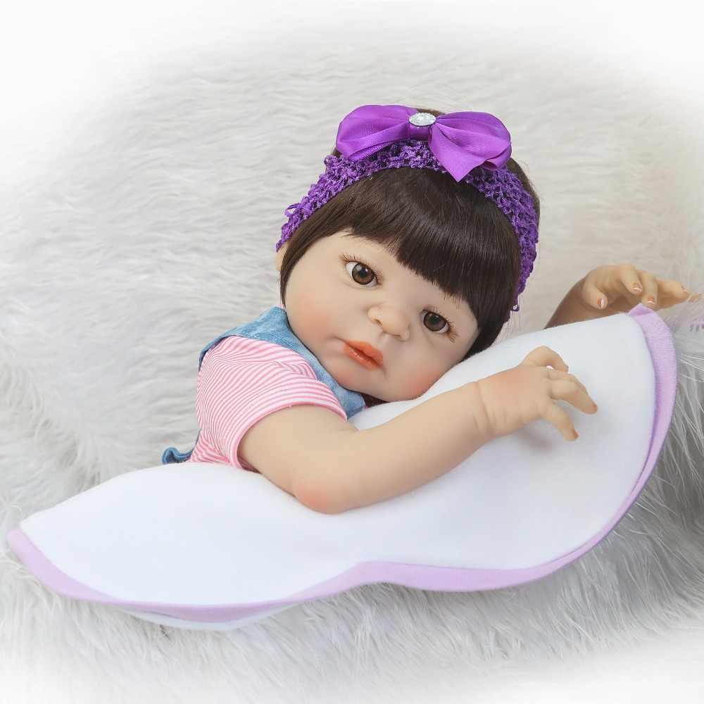 NPK Bayi Baru Lahir Boneka Reborn 55 Cm 23 Inch Reborn Bayi Gadis Kehidupan Nyata Boneka Hidup Mainan Lembut Silikon Terbuka mata Biru Keringat