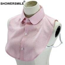 SHOWERSMILE Lapel Fake False Collar Women Pink Detachable Striped 2019 Spring Fashion Ladies Shirt