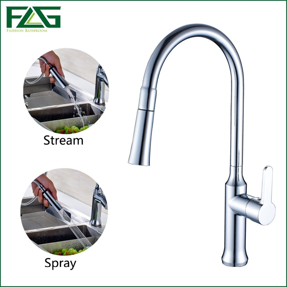 FLG Contemporary Kitchen Faucet Copper Chrome Rotatable Single Handle Single Hole Pull Out Torneira Spring Kitchen Sink Tap C044 niko 50pcs chrome single coil pickup screws