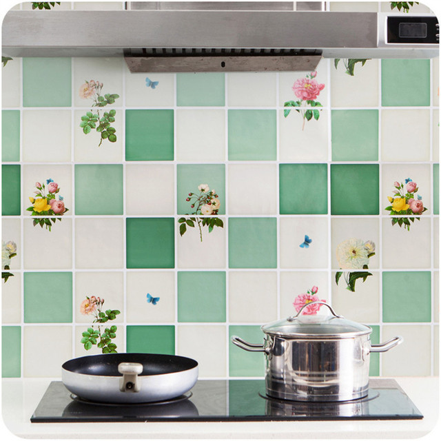 Suhu Tinggi Dapur Anti Minyak Pasta Aluminium Foil Tahan Air Stiker Diy Rumah Dekorasi Aksesoris