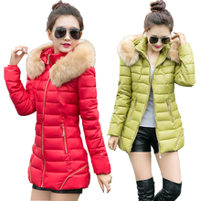 2015 New Korean Winter Jacket Women Medium Long Fur Collar Hooded Coat Ladies Fashion Jacket Slim Down Cotton Coat