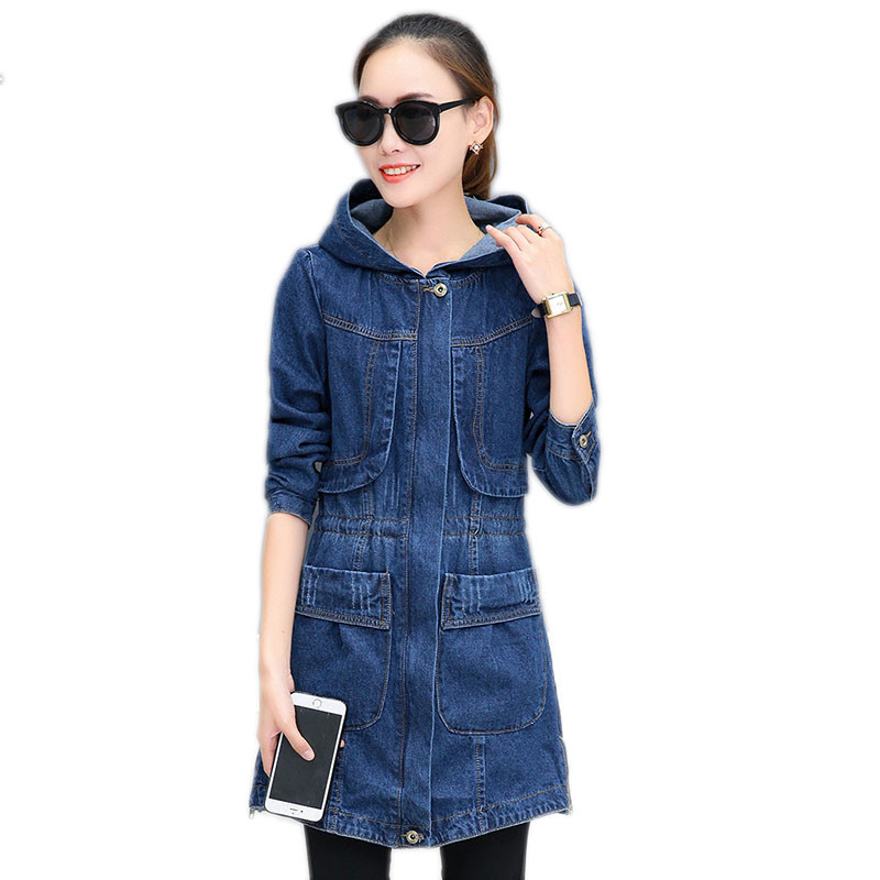 667afc6ccf54e Plus size denim trench coat 2018 new hooded loose women outerwear Long  sleeve medium long female coat cw348
