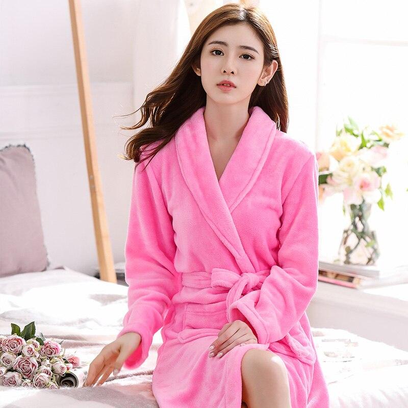 Women Winter Coral Fleece Kimono Bathrobe Lady Long Sleeve Thick Warm Soft Robe Gown Couple Lover Sleepwear Nightwear M L XL