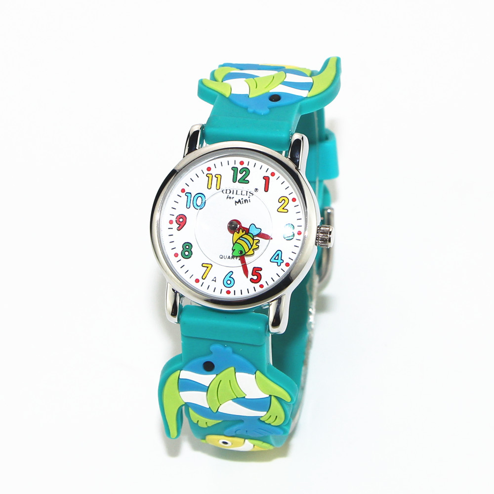 MINI Fish 3D Blue Band Pattern Design Little Girl Children Students Boy Women Wrist Watch Waterproof Clock Reloj