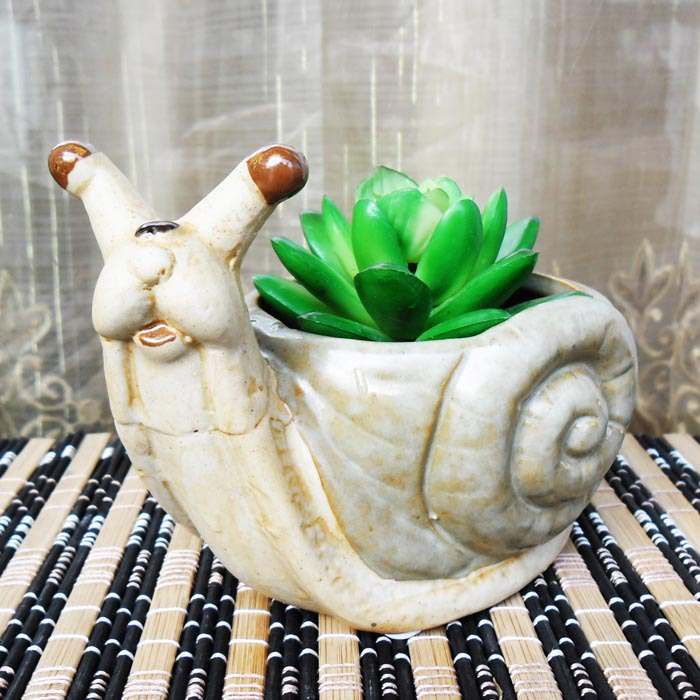 Aibei Zakka Retro Ceramic Snail Flower Pot Decorative