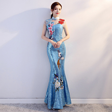 Traditional Women Embroidery Flower Qipao Classic Backless Sequins Cheongsam Noble Banquet Dress Mermaid Gowns Vestidos S-XXL все цены