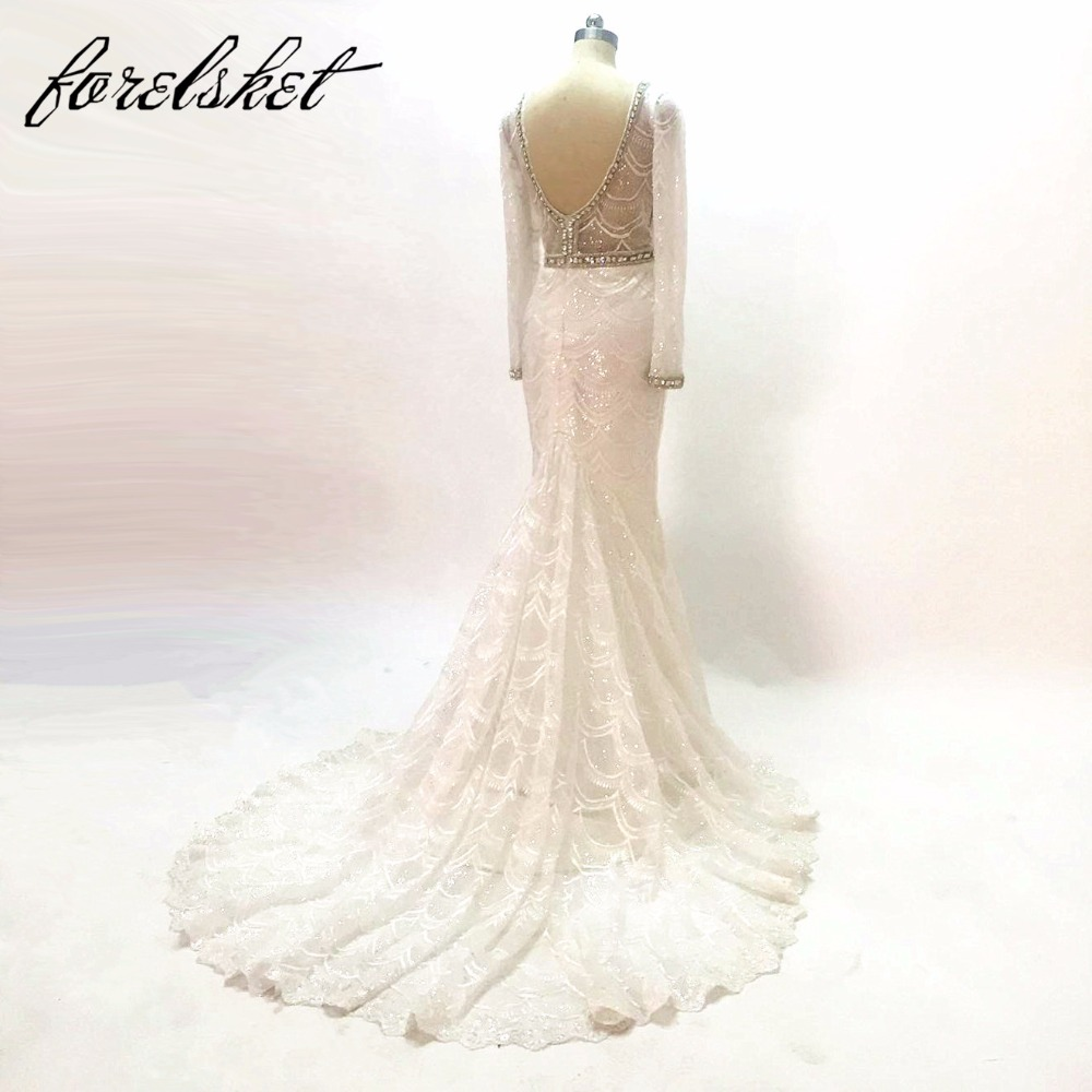 šitý na míru šatek Mermaid Svatební šaty 2015 dlouhé rukávy V - Svatební šaty - Fotografie 2