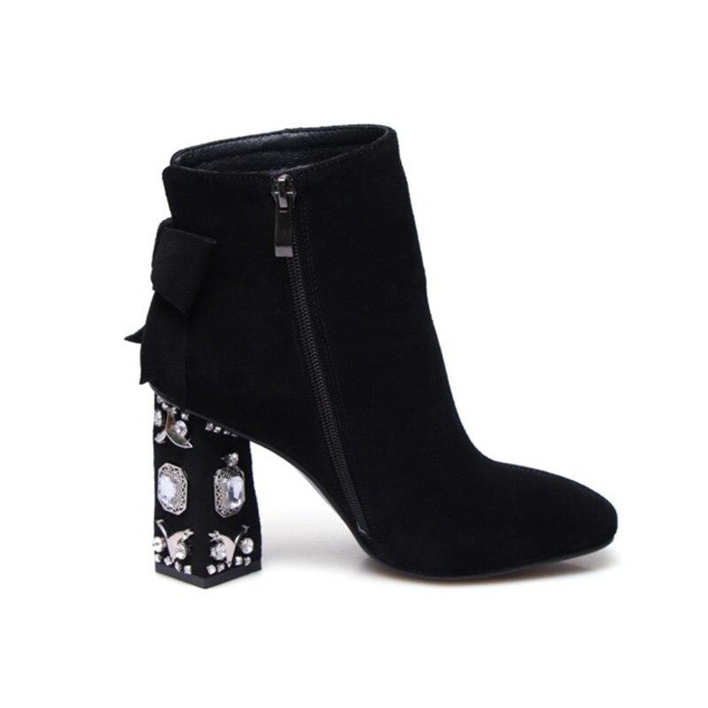 Phoentin schwarz kuh wildleder frauen stiefel mit zipper kristall seltsame heels damen stiefeletten karree super hohe ferse solide FT238-in Knöchel-Boots aus Schuhe bei  Gruppe 2