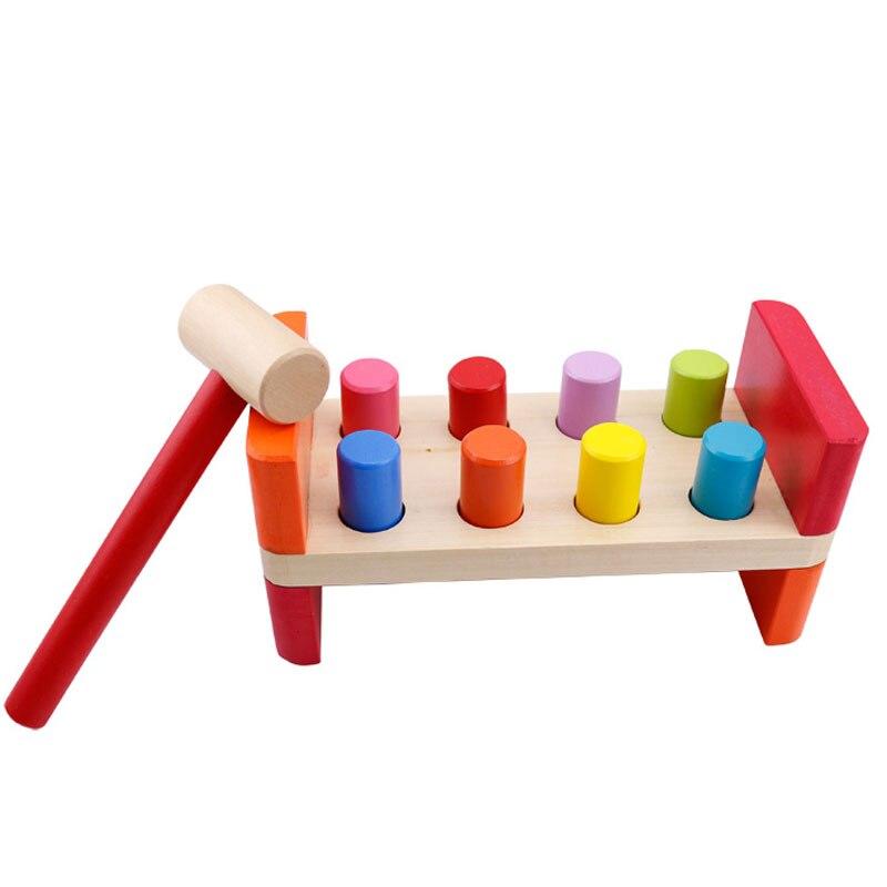 Деревянные головоломки 3D головоломки раннего скамья Hammer фунт колышек Игры развивающие деревянные игрушки для детей 2-4 года E2865Z