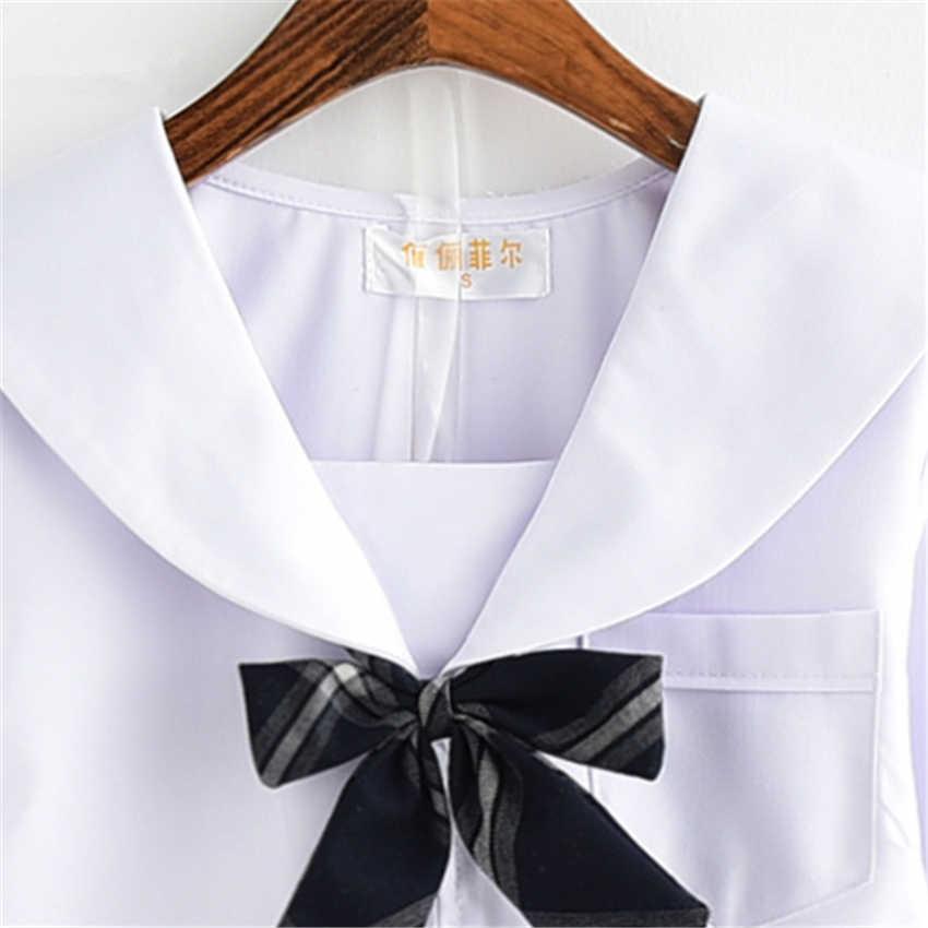 Estilo japonés de moda uniforme escolar de JK falda de colegiala plisada de celosía vestido de marinero Tie Cute Girls Cosplay ropa conjunto