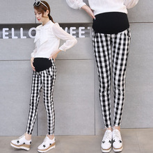 New Spring autumn maternity trousers Stretch leggings Plaid pants Abdominal adjustable