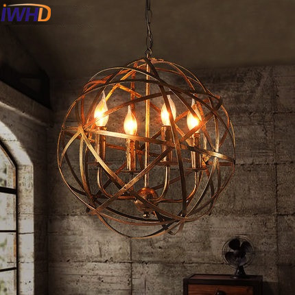IWHD Single Head Retro Hanglamp Vintage Retro Hanging Lamp Style Loft Industrial Restaurant Ball Pendant Lights Indoor Lighting new loft vintage iron pendant light industrial lighting glass guard design bar cafe restaurant cage pendant lamp hanging lights