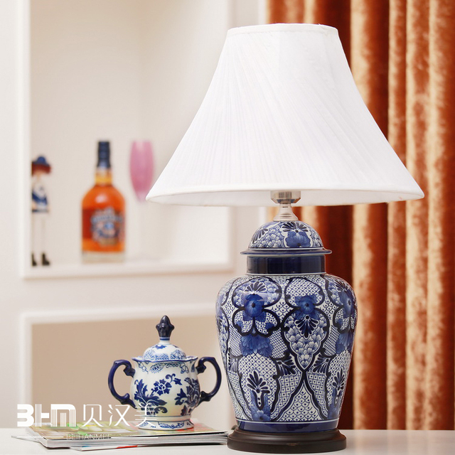 Ceramic Decoration Clic Vintage Chinese Style Blue And White Porcelain Temple Jar Table Lamp Bed