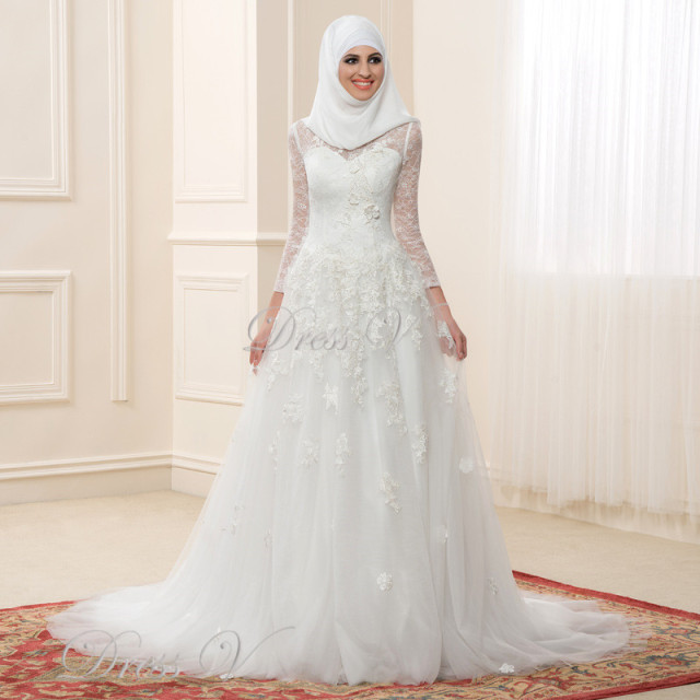 Muslim Wedding Dresses For Bride In : Muslim wedding dresses lace long sleeves high neck arabic bridal gowns