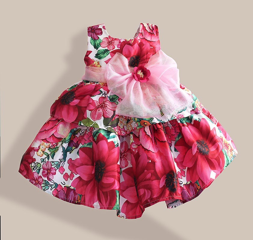 new Christmas baby girl dress with big bow floral print girl party dress flower kids wedding dress for 1-6Y 2016 new style kids infant baby girl flower girl dress for wedding girls party dress with big bow lace dress for 3 8years