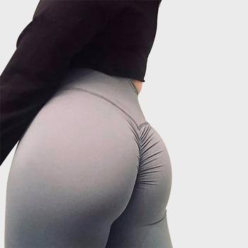 SALSPOR Solid Standard Fold Yoga Pants Women High Waist Push Up Tight Fitness Leggings Gym Women Running Workout Sport Leggings 1