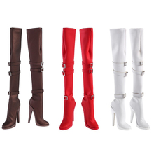 1/6 white/red/Black/black Long leather boots Shoes Model Knee high heels solid inside For 12'' female body Action Figures Access brooks men s ravenna 6 shoes white high risk red black 12 d