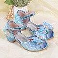 Qloblo/Детские блестящие сандалии; весенне-летние кожаные туфли для танцев  свадьбы  вечеринки; элегантные Студенческие сандалии на квадратно...