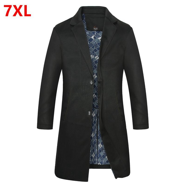 Más del tamaño chaqueta masculina zanja Alargan color sólido cazadora de los hombres de los hombres prendas de vestir exteriores de grasa la ropa da vuelta-abajo abrigo 7XL