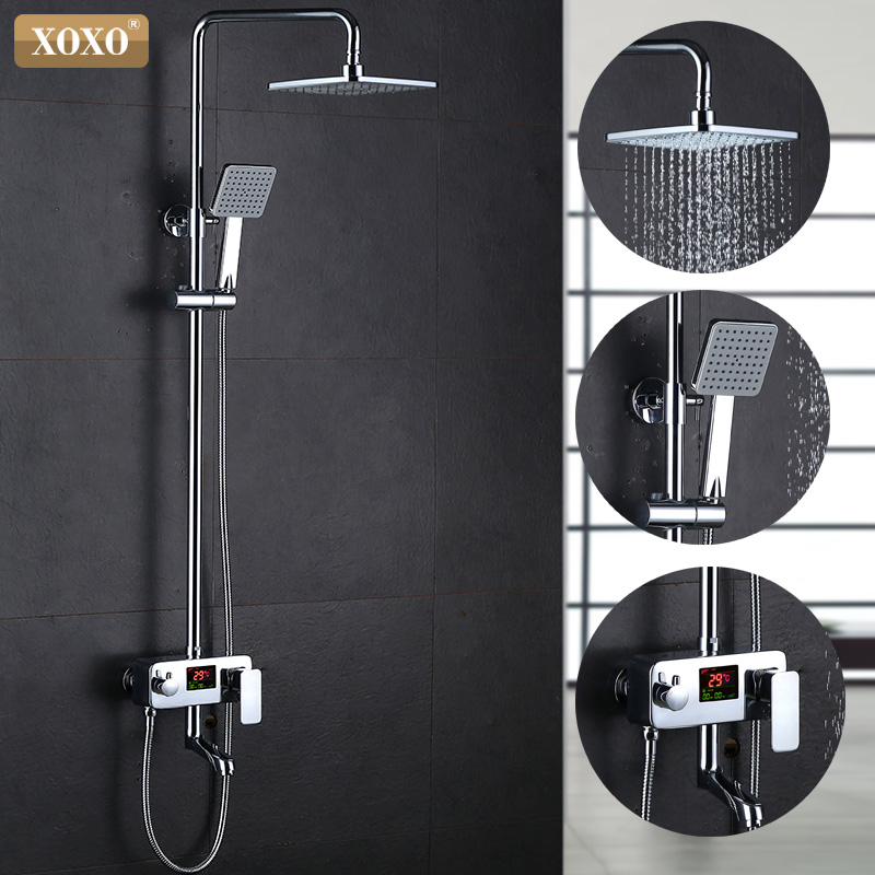 Xoxo novo luxo chuveiro de água dinâmica display digital inteligente e torneira do chuveiro led torneira do chuveiro 88020