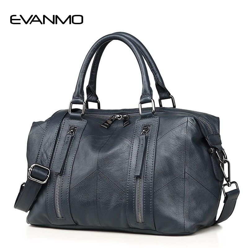 EVANMO Ladies Fashion Tote Genuine Leather Luxury Handbags Double Zipper Bags Elegant Female Messenger Crossbody Fashion Purse