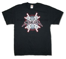Metallica Four Hands Devil Horn Sign Black T Shirt New Official Metal(China)