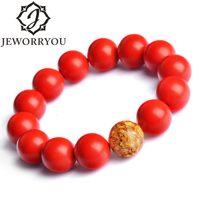 Man <font><b>Bracelets</b></font> Hand Chain Cinnabar Buddha <font><b>Bracelet</b></font> Women 8-16mm Goldleaf Accessories Red <font><b>Bracelet</b></font> Male image