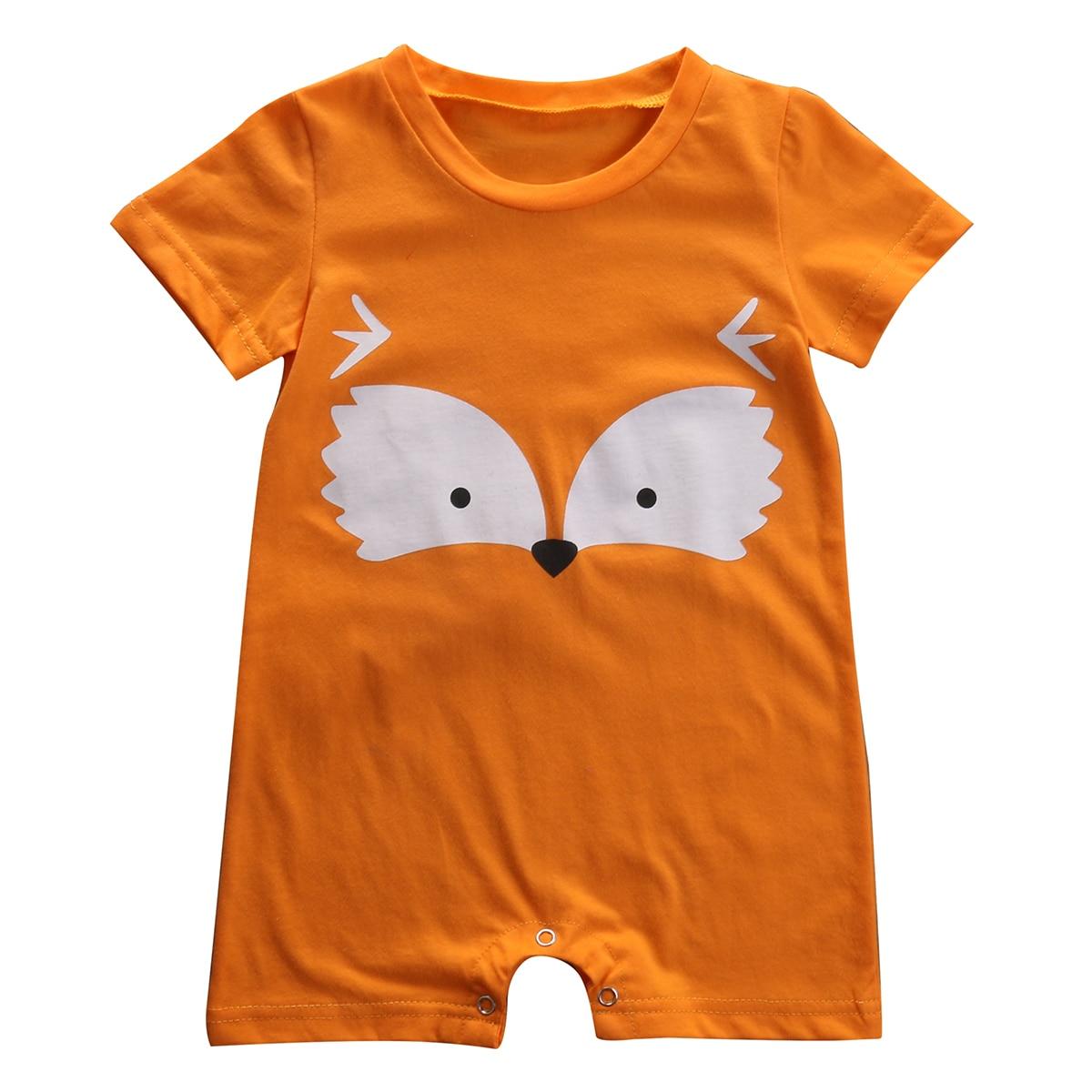 Cute Newborn Baby Boy Fox Romper Short Sleeve Jumpsuit