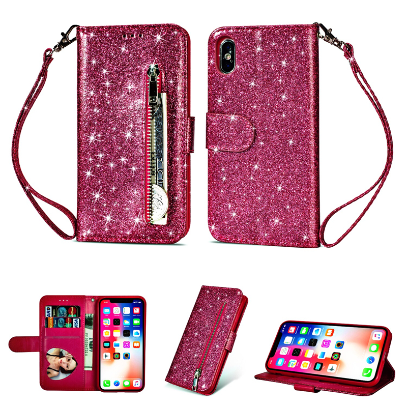 Case For iPhone 7 XS Max Zipper Wallet Case For iPhone X XR Glitter PU Leather Capa For iPhone 6 6s 7 8 Plus Case With Card SlotCase For iPhone 7 XS Max Zipper Wallet Case For iPhone X XR Glitter PU Leather Capa For iPhone 6 6s 7 8 Plus Case With Card Slot