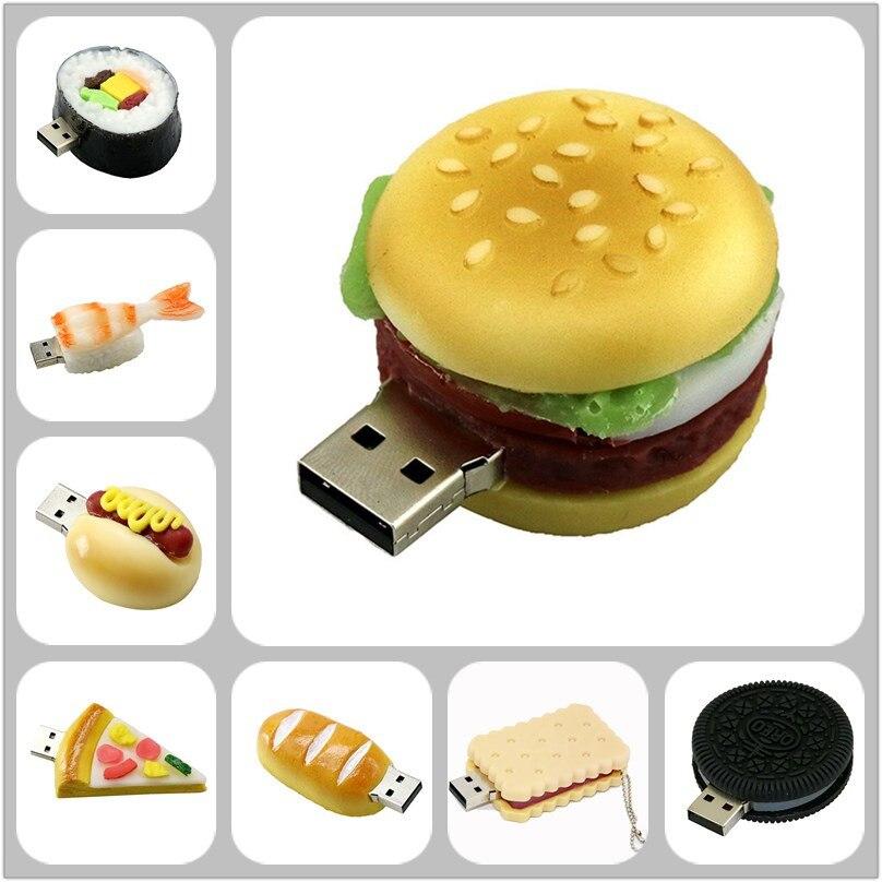 Hamburger Food Usb Flash Drive Creative Sushi/Bread/Pizza Pendrive Pen Drive 4GB 8GB 16gB Memory Stick Storage U Disk Toy Drive