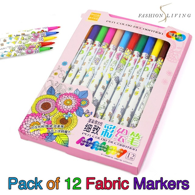 Pack of 12 Fabric Markers Coloring Pens Adult Kids Colouring Pen ...