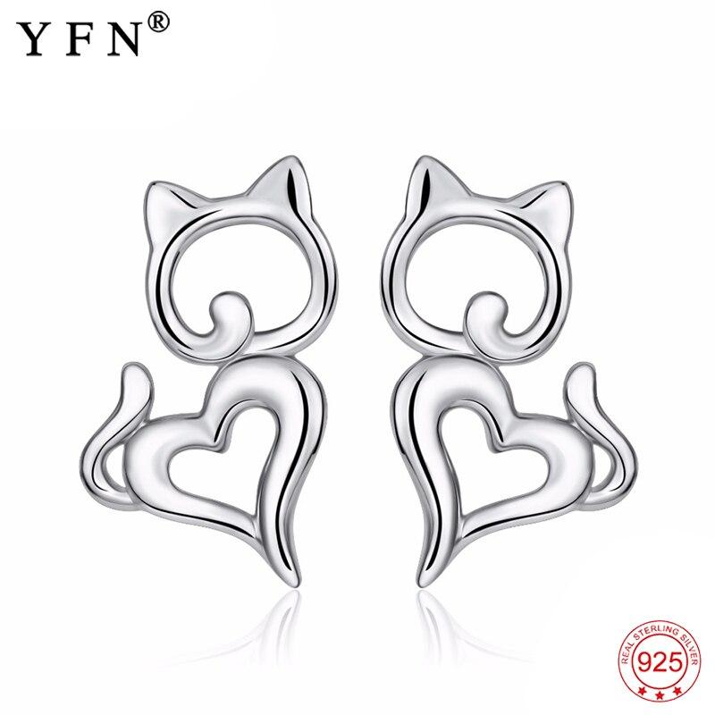 Ladies Hot Fashion 925 Sterling Silver Super Cute Little Cat Ear Stud Earrings