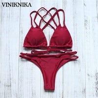VINIKNIKA Sexy Banded Handmade Braid Bikini Swimsuit Swimwear Summer Women Bikini Suit Push Up Biquinis Sexy