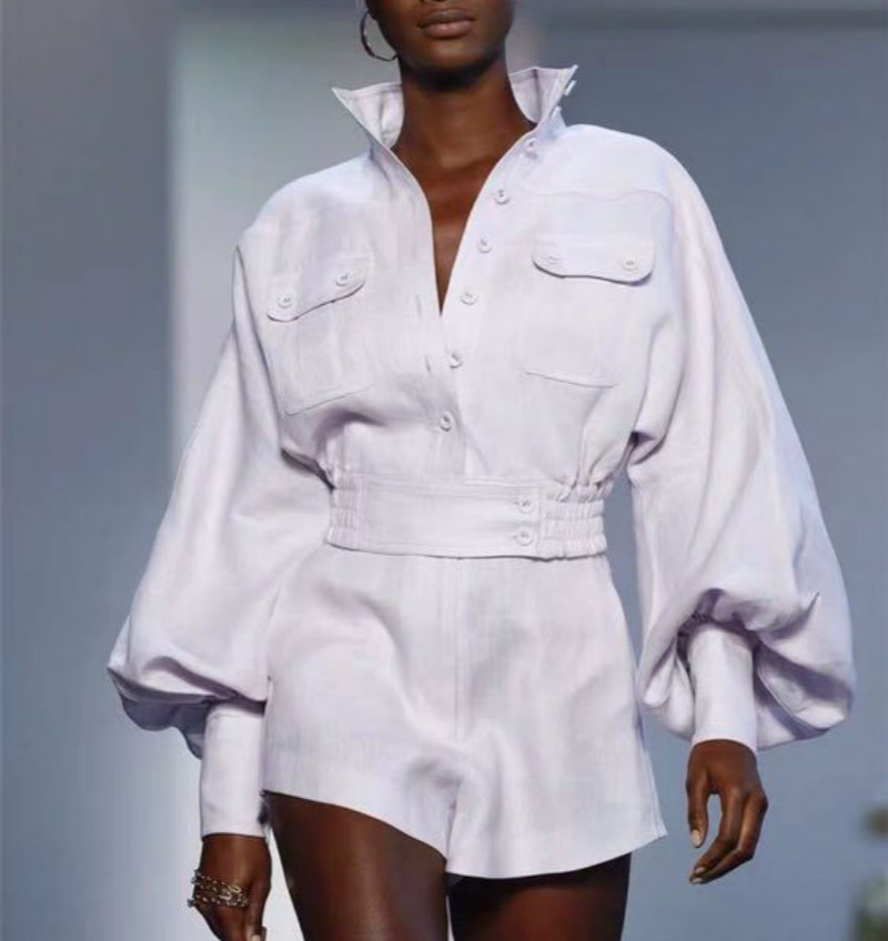 New Runway Women s Suits Linen Blouse Shorts Single Breasted Pockets Shirt 2019 Designer Long Lantern