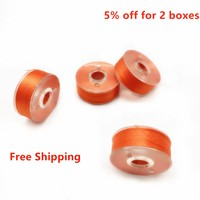 High Quality Pre Wound Bobbin Thread Polyester Orange Color Plastic Side Type L 75D 2 144PCS