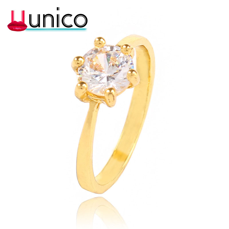 Unico Trendy Charm Simple Glod  Rings For Women Engagment Jewelry Fashion CZ Round Anniversary Rings Big Size 17/18/19