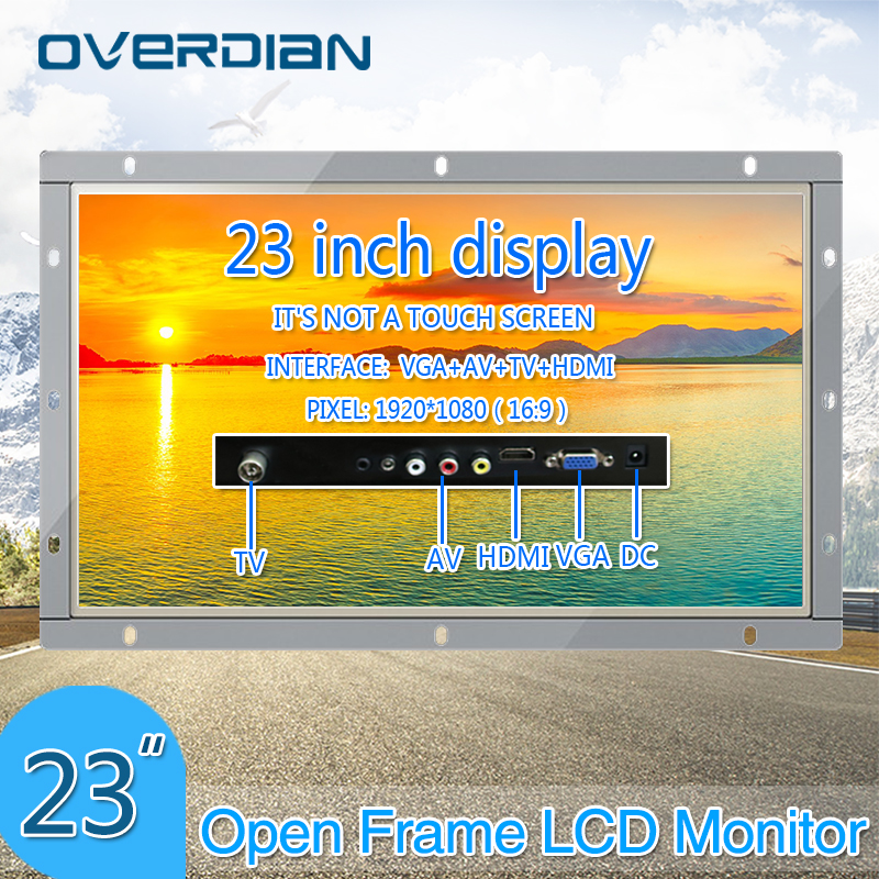 23Inch VGA/HDMI/TV/AV Interface Industrial Monitor/Display 1920*1080 Metal Shell Non-Touch Screen Monitor For PC Open Frame