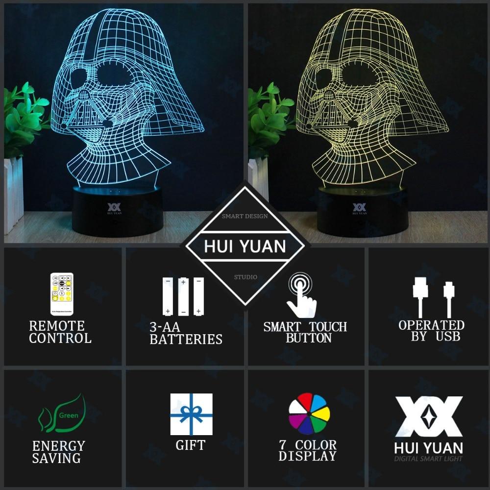 Star Wars Anakin Skywalker 3D Lamp Darth Vader LED Remote Control - Night Lights - Photo 4
