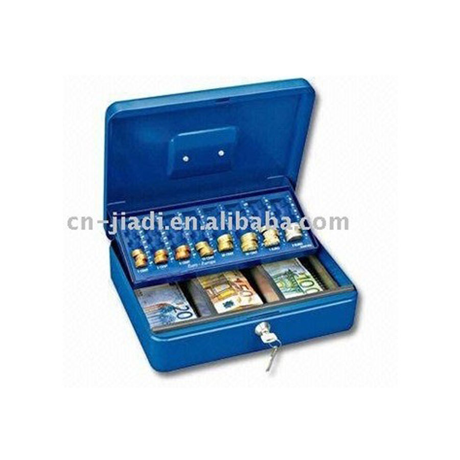 Euro Cash Box With Coin Tray With Blue Or White Color