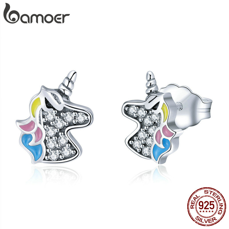 BAMOER 2018 925 Sterling Silver Dazzling Licorne Memory Stud Earrings Silver for Women & Girls Sterling-Silver-Jewelry SCE426 bamoer original 925 sterling silver dazzling daisy flower stud earrings for women jewelry pas434