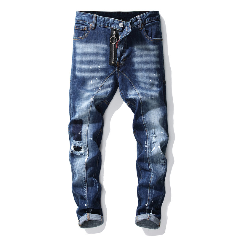 New Ripped Torn Mens Jeans Blue Embroidery Slim Skinny Jeans Stretch Pants Men Trousers Clothes Hip Hop Streetwear Autumn Winter